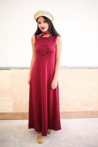 Burgundy Faire Sleeveless Maxi Dress