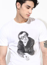 Men's Organic Cotton White T-shirt With Woody Allen Print