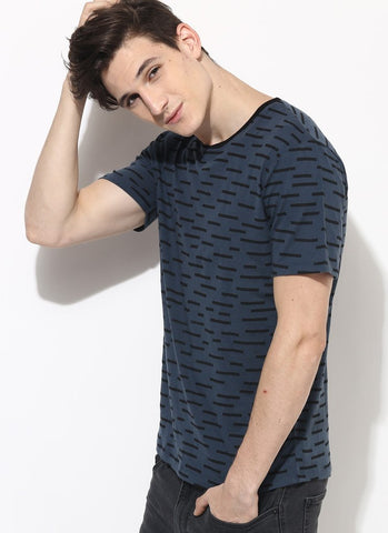 Men's Organic Cotton T-shirt With All Over Line Print