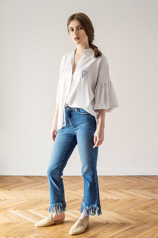 White shirt bohemian summer top