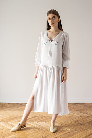 White oversized dress summer and beachwear
