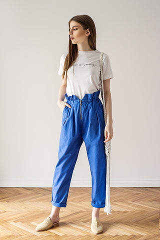 High waisted pants hand dyed blue 100% organic cotton