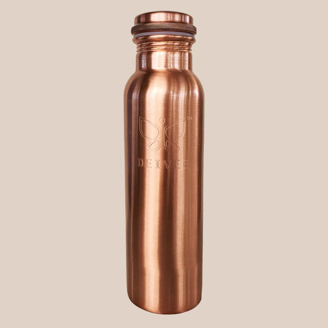 Deivee Copper Water Bottle - Matte finish engraved logo