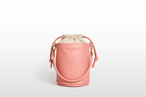 Vegan Drawstring Bucket Handbag, Roseate