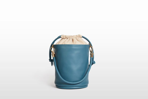 Vegan Drawstring Bucket Handbag, Cerulean