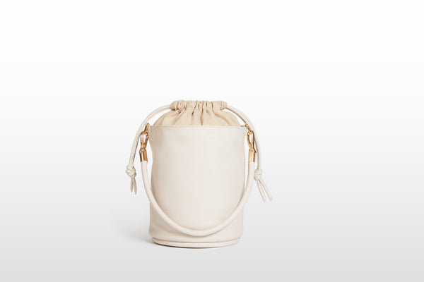 Vegan Drawstring Bucket Handbag, Ecru