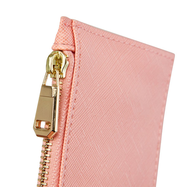 Coral Card Holder with zipper