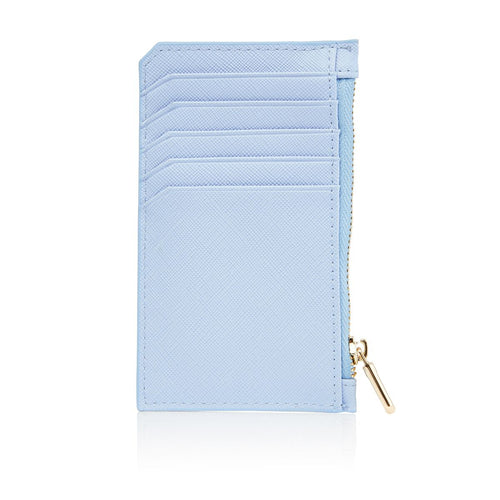 Blue Card Holder with zipper