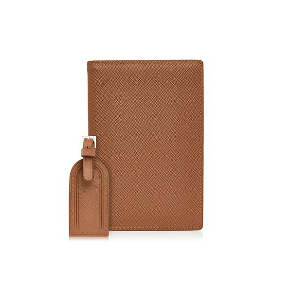 Camel Passport Holder and Luggage Tag Set