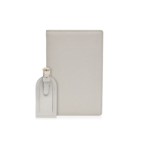 Grey Passport Holder and Luggage Tag Set