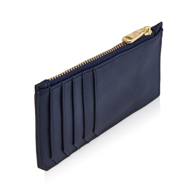 Navy Card Holder with zipper