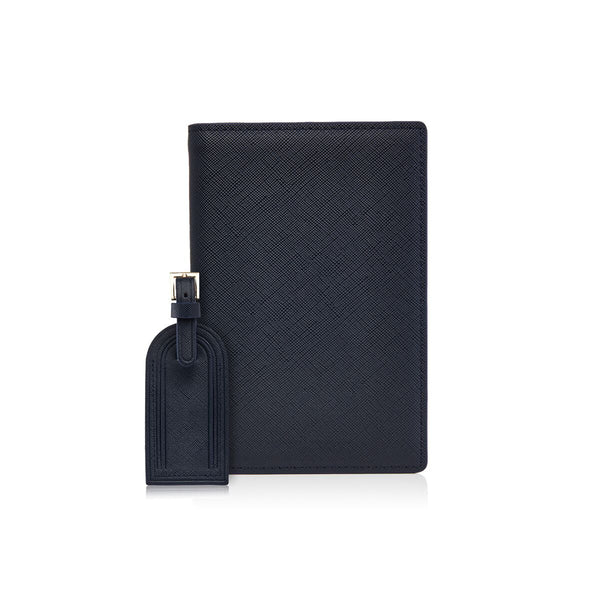 Navy Passport Holder and Luggage Tag Set