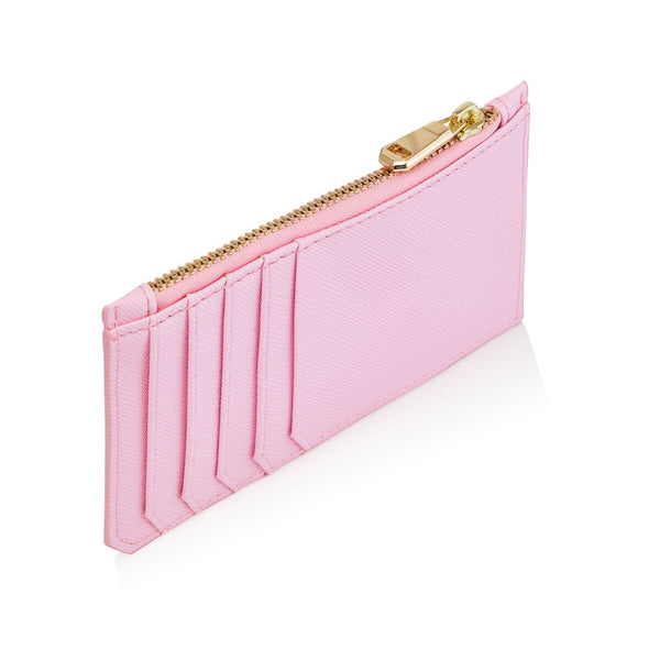 Bright Pink Card Holder with zipper