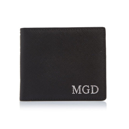 Men's Saffiano Black Bifold Wallet