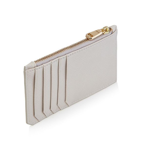 Grey Card Holder with zipper