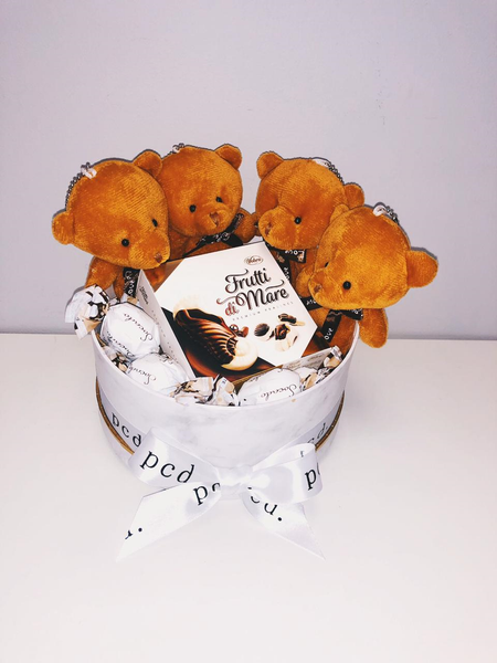 White Marble Hamper with brown tiny teddies