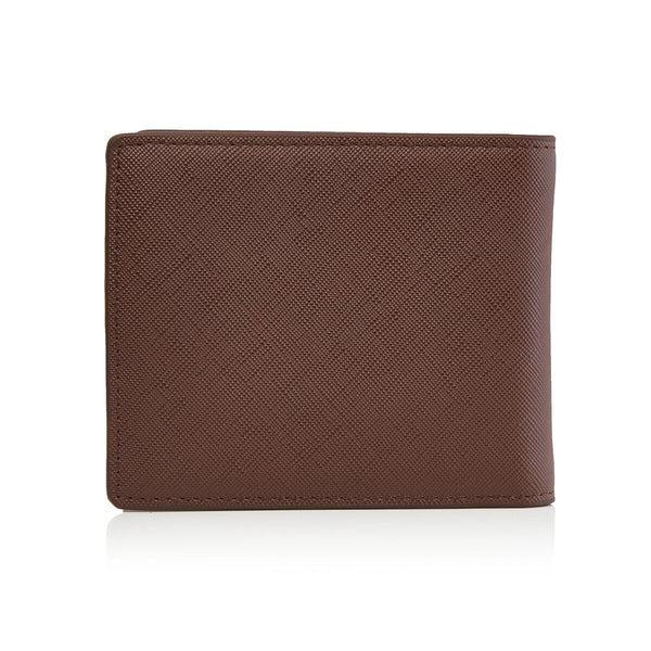 Men's Saffiano Bifold Chestnut Brown Wallet