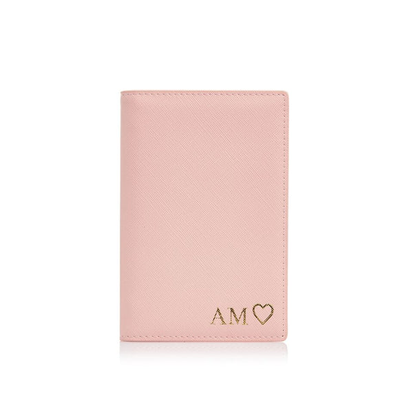Pink Passport Holder and Luggage Tag Set
