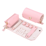 Pink Travel Jewelry Roll