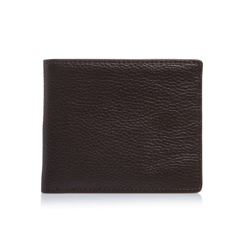 Men's Pebbled Dark Brown Bifold Wallet
