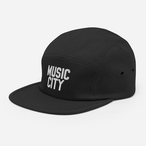 Music City Basic white text Five Panel Cap