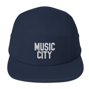 Music City Basic Text White Five Panel Cap