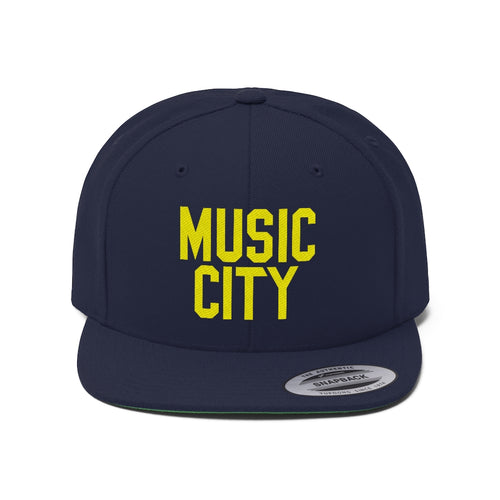 Music City Basic Text Unisex Flat Bill Hat