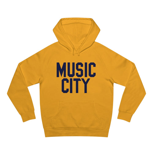 Music City Block Navy Text Unisex Supply Hood