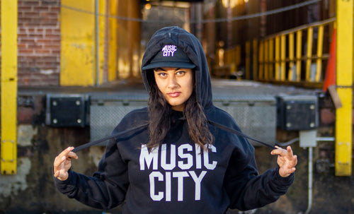 Music City Basic Text Bone Premium Unisex Hoodie