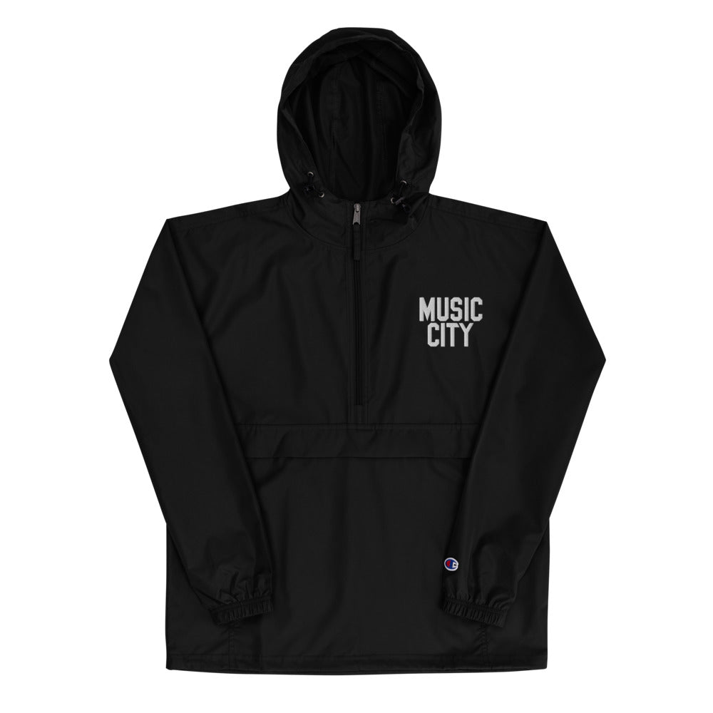 Music City Basic Text Embroidered Champion Packable Jacket
