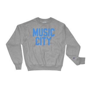 Music City Basic Text Light Blue Champion Sweatshirt