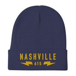 Nashville 615 Bolts Embroidered Watchcap
