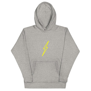 "Hollow Bolt Modern Gold Unisex Hoodie with ""all y'all"" back detail."