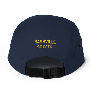 """N"" vintage style Nashville Soccer Five Panel Cap with back detail"