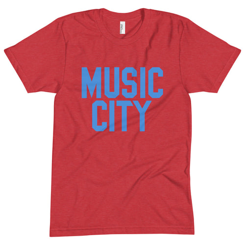 Music City Block Light Blue Text Unisex Crew Neck Tee