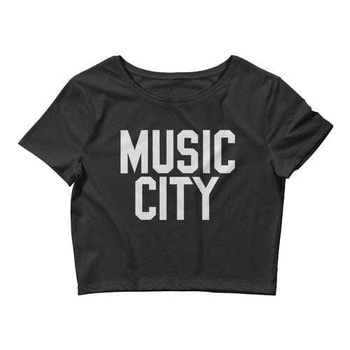 Music City Basic Text Women's Crop Tee