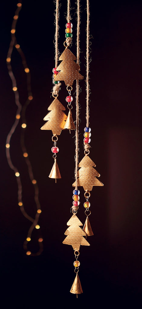 Fair Trade String of 4 trees with bells