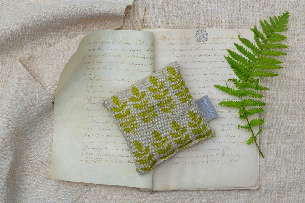 Sam Wilson Green Leaf Linen Lavender Bag - NOW 40% OFF