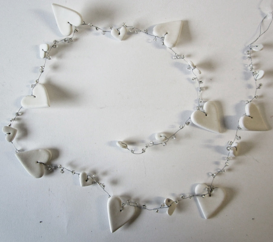 White Heart and Bead Garland