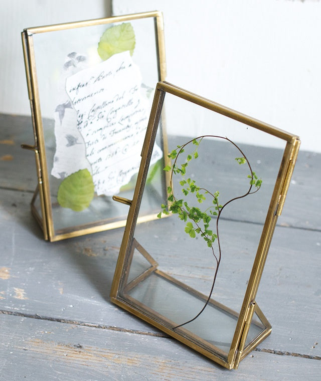 Antiqued Brass Standing Photo Frame