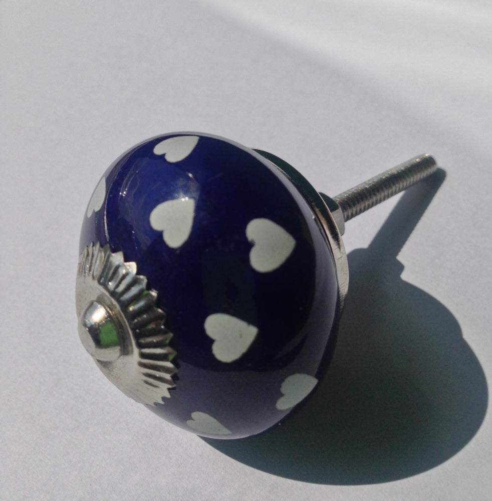 Navy and White Heart Ceramic Knob