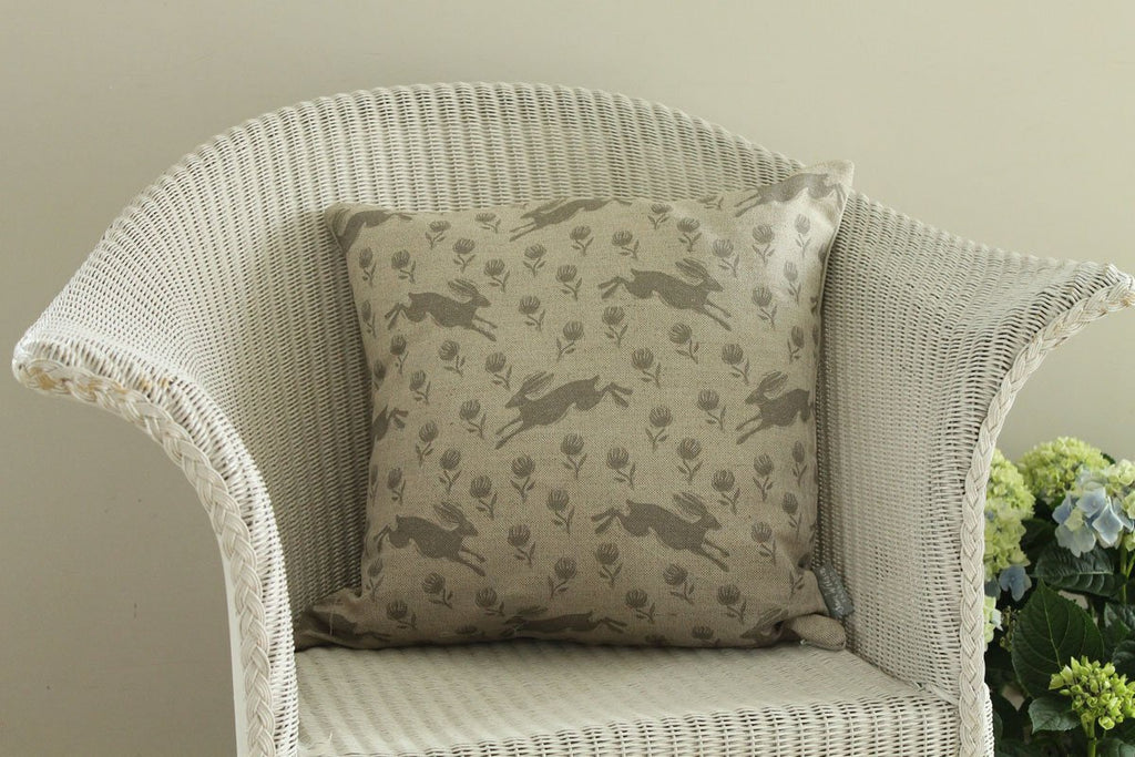 Sam Wilson Running Hare Linen Cushion
