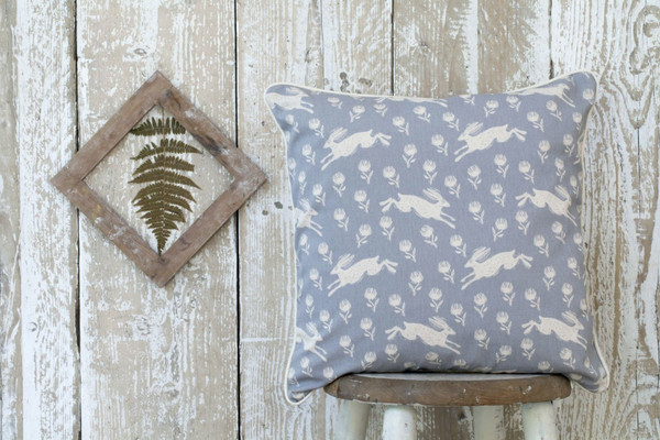 Sam Wilson Running Hare Grey Cushion - NOW 30% OFF