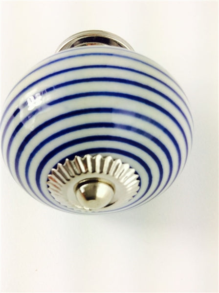 Fine Blue Stripe Large 6cm Knob