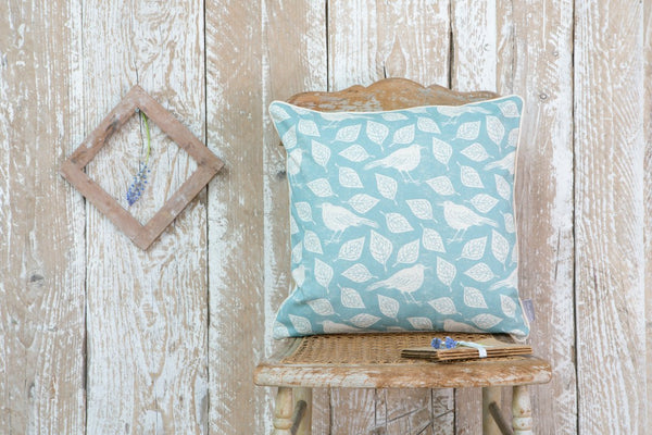 Mr Blackbird Blue Cushion