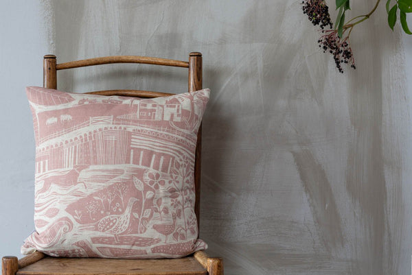 Sam Wilson Through the Fields Pink linen Cushion