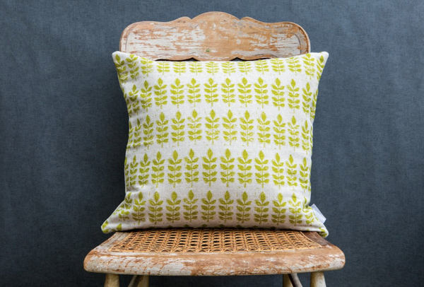 Sam Wilson Green Leaf Square Linen Cushion - NOW 25% OFF
