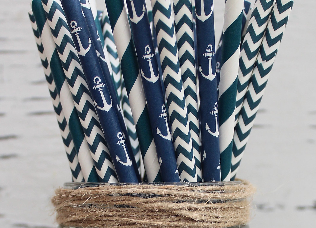 Paper Straws Nautical Mixed - NOW 20% OFF