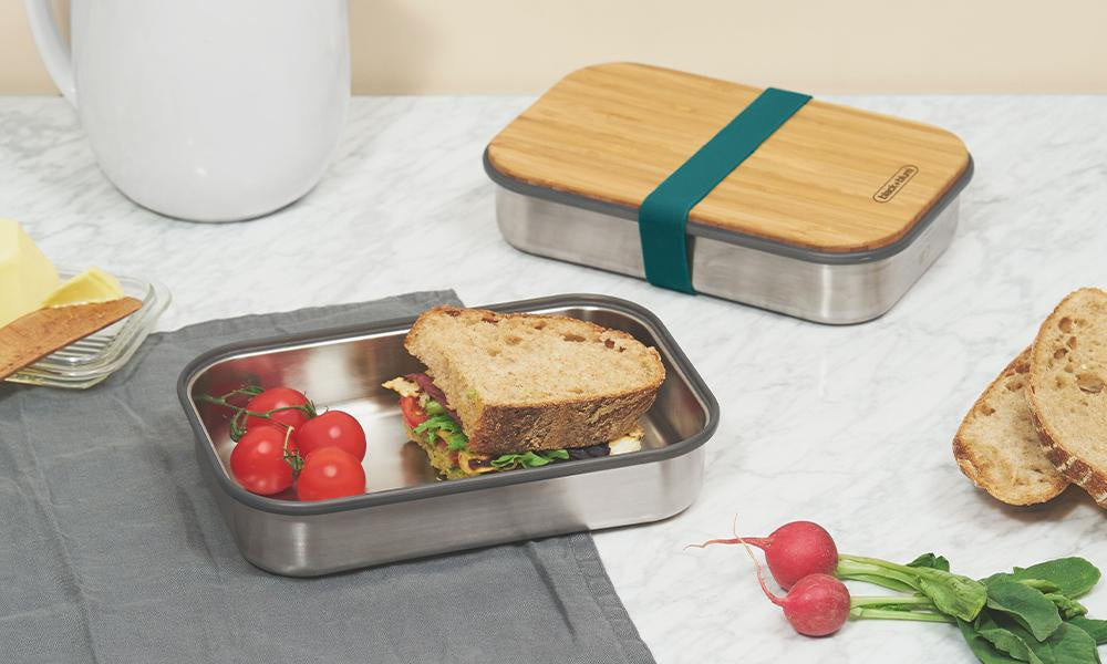 Black and Blum Sandwich Box with Bamboo Lid - NOW 20% OFF
