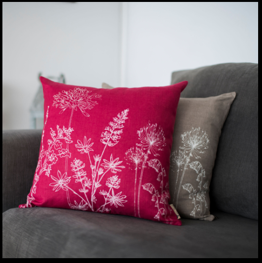 Helen Round Garden Cushion - Raspberry - January Cushion Sale: 20% OFF